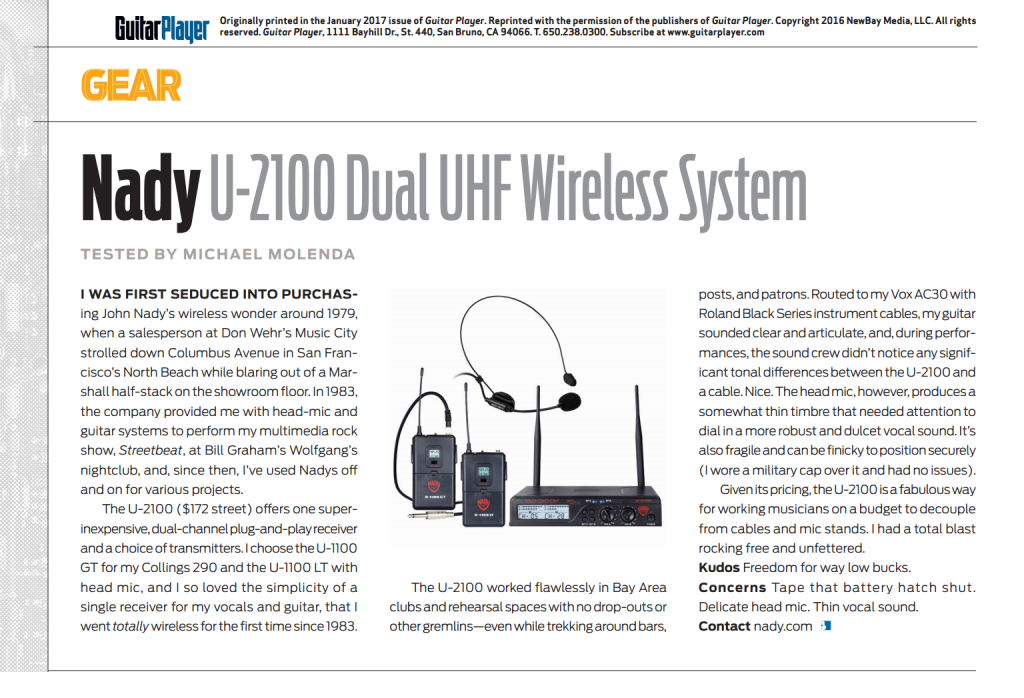 guitar player gp review u 2100 dual uhf wireless system. Black Bedroom Furniture Sets. Home Design Ideas