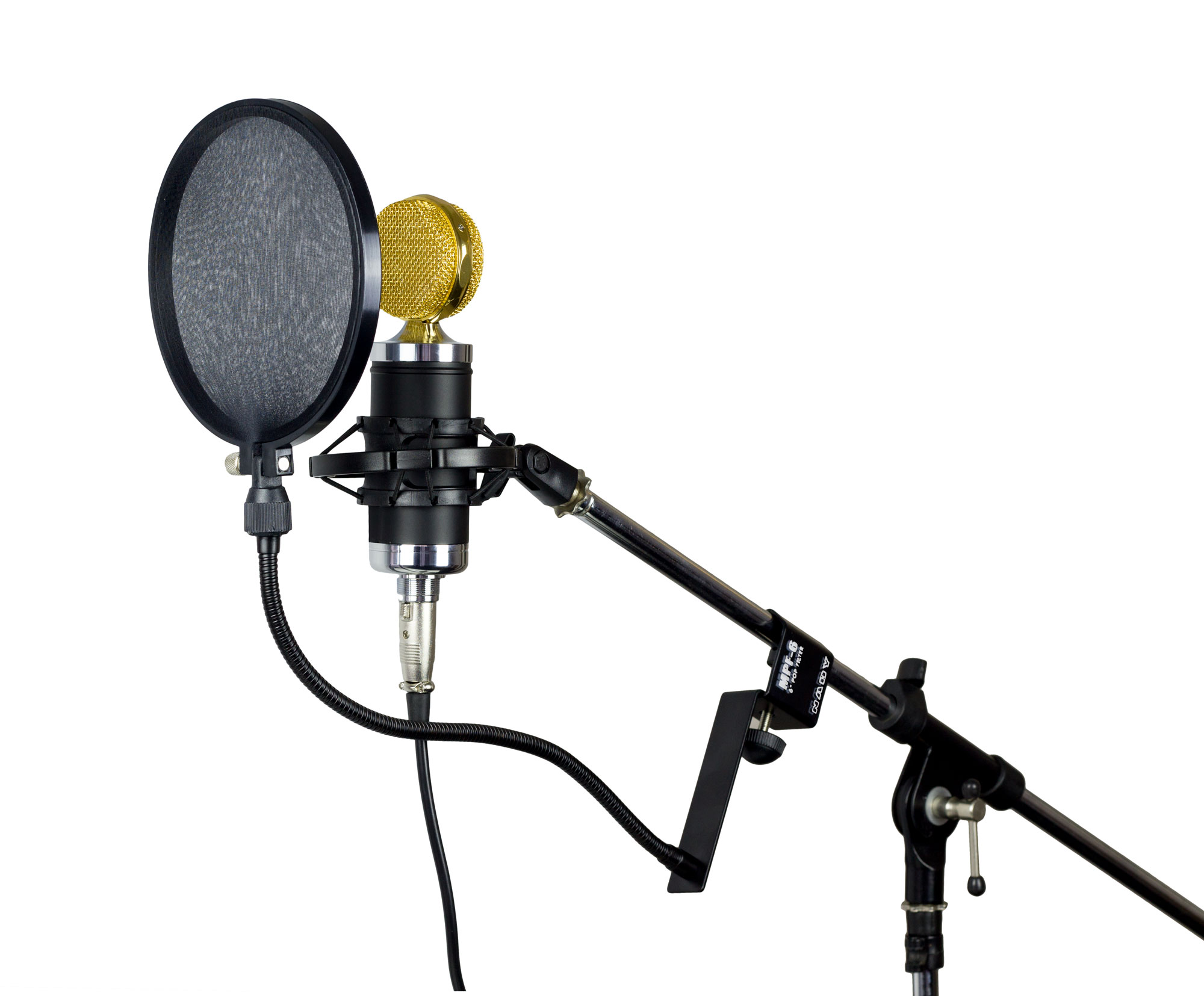 mpf 6 spf 1 microphone pop filter with boom and stand clamp nady systems inc. Black Bedroom Furniture Sets. Home Design Ideas