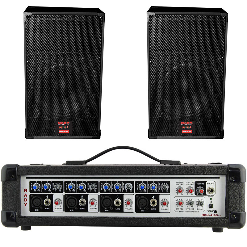 NADY MPM-4130X2 PA212 4-Channel Powered Mixer With 12″ Speakers